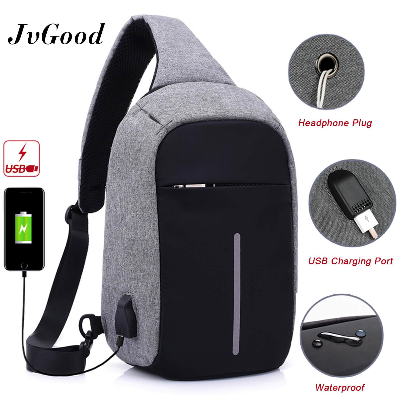 JvGood USB Charging Chest Bag Crossbody Bag Anti Theft Sling bag  Lightweight Casual Daypack for Men d9c2d9431706c