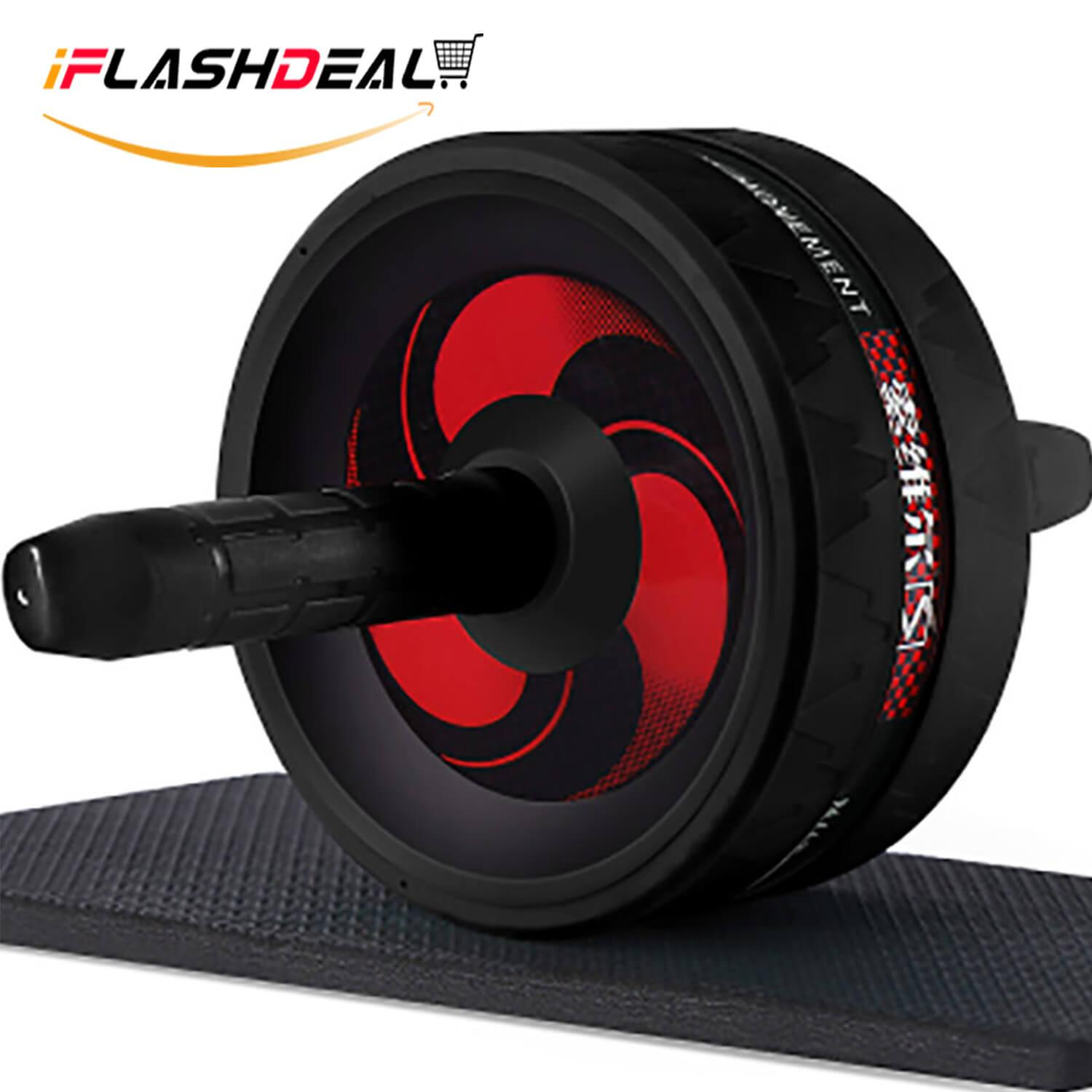 iFlashDeal AB Wheel Exercise Fitness Wheel Abs Roller Workout System With Free Knee Mat Core Abdominal