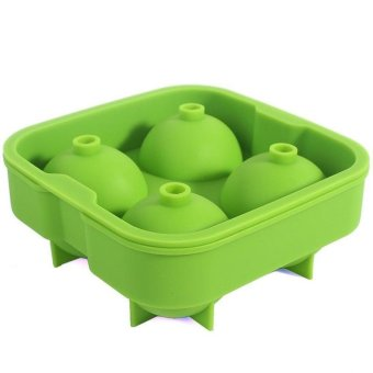 4 Ice Balls Maker Mold Flexible Silicone Ice Tray Whiskey CocktailsRound Spheres Ice Mould (Green) - intl