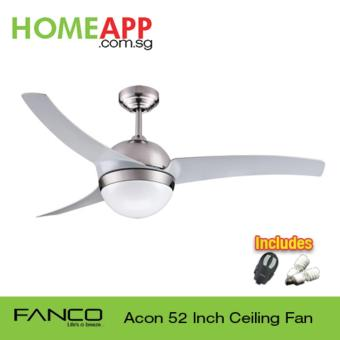 Fanco Acon 52 Ceiling Fan with Light and Remote (Metallic Silver)