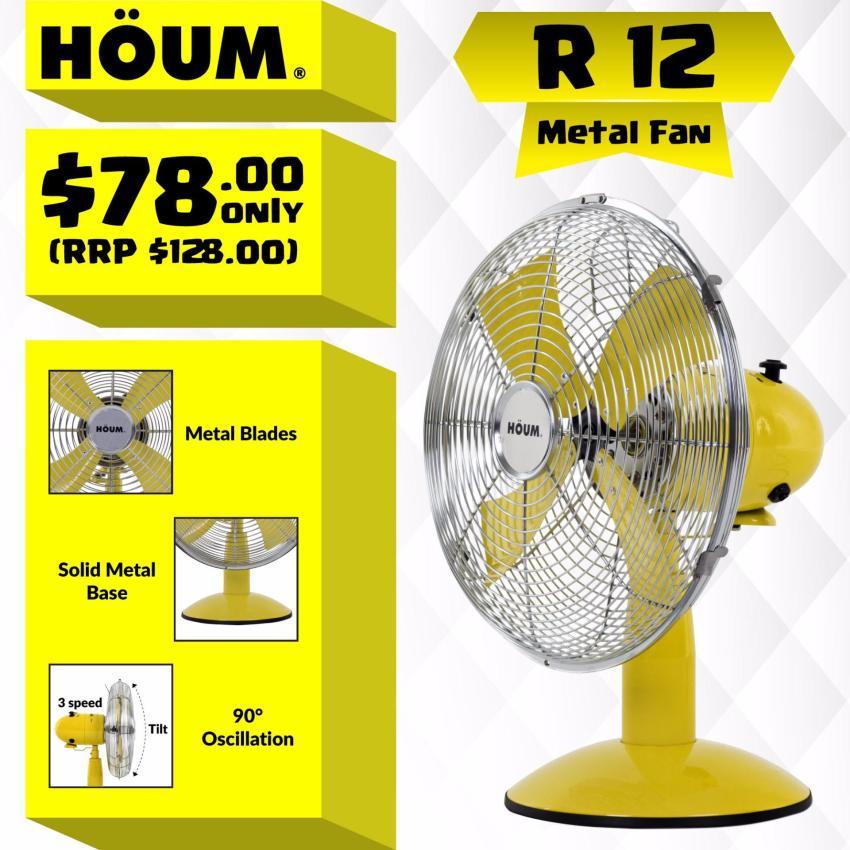 Houm M12d Metal Desk Fan 12 Inches 3 Speeds Metal Blades