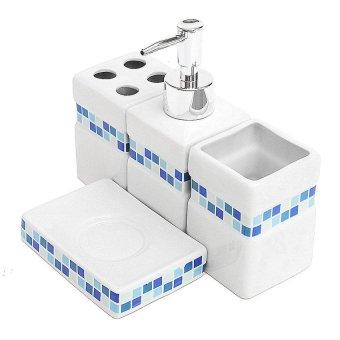 1pc blue mosaic square 4pcs ceramic porcelain bath