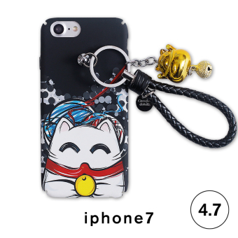 Apple iphone6s plus hard protective shell mobile phone shell with lanyard ring the whole package frosted lucky cat female 7 p