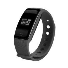 Bluetooth Wristband Smart Pedometer Bracelet Heart Rate Monitor Black - Intl
