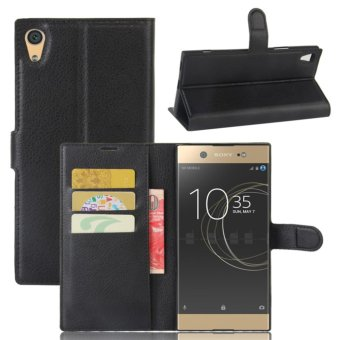 Leather Flip Cover Protective Case For Sony Xperia XA1 Ultra(Black) - intl
