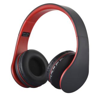 niceEshop Wireless Bluetooth Stereo Headphone Foldable EDR Earphone Mic MP3 FM Headset For Smart Phones Tablet(Black+ Red)