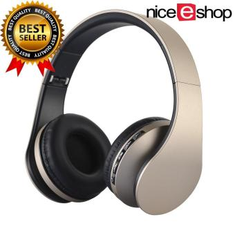 niceEshop Wireless Bluetooth Stereo Headphone Foldable EDR Earphone Mic MP3 FM Headset For Smart Phones Tablet(Gold+Black)