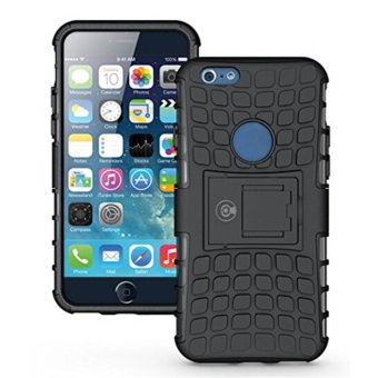 PC / TPU Dual Protective Mobile Phone Stand Case Cover For IPhone 6 Plus Black