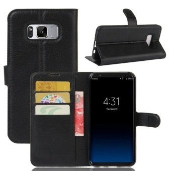 PU Leather Flip Cover Case For Samsung Galaxy S8 Plus (Black) - intl