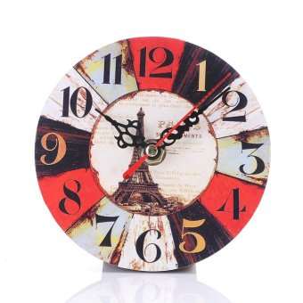 12cm Vintage Round Wood Wall Clock Home Decor - intl