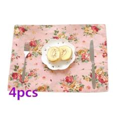 ... 360DSC 4Pcs Double Layer Soft Linen Tableware Mat Table Runner Flower Printied Tablecloth Desk Cover