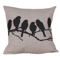 360DSC Birds on the Branch Pattern Cotton Linen Square Shaped Decorative Pillow Cover Pillowcase Pillowslip