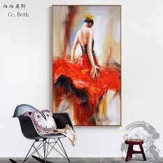 Bass Cc Large Beautiful Abstract Dancer Red Dress Design Company Office Mural Painting The Living Room
