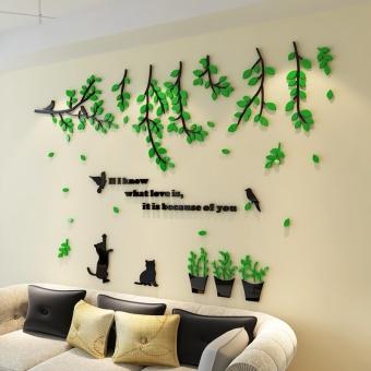 Cat Pots Acrylic 3D Dimensional Wall Stickers Restaurant Living Room Bedroom Bedside TV Backdrop Creative
