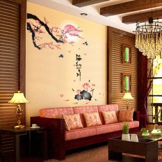 Chinese Calligraphy And Ink Painting Style Removable Wall Stickers Living Room Sofa Tv Background Wall Stickers