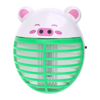 Cute Pig Shape Mosquito Lamp LED Anti Mosquito Repeller Killing(Green) - intl