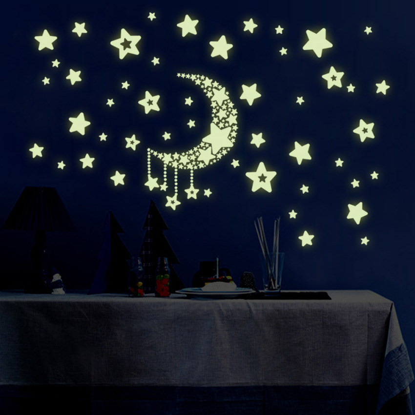 100pcs Set Wall Ceiling Glow In The Dark Stars Stickers Lazada Singapore