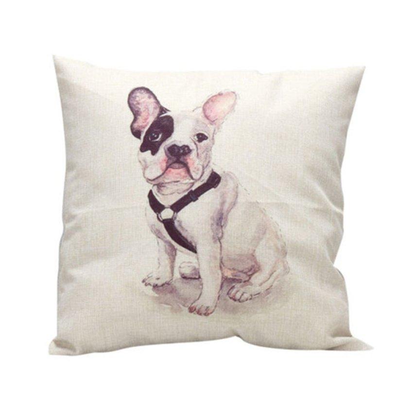 Vintage Pillows: Vintage Square Flower Cotton Throw Pillow Cover Cushion