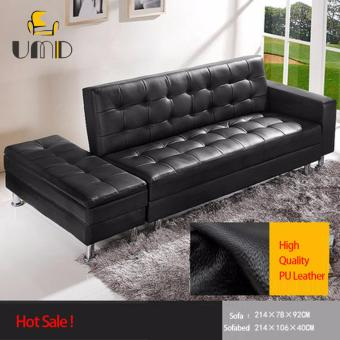 Pu sofa bed with double storage black colour lazada for Sofa bed lazada