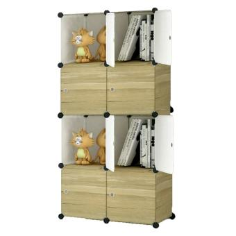 Tupper Cabinet Dark Wood 8 Cubes Storage Cabinet Beauty Collection