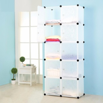 Tupper Cabinet Elegant White 10 Cubes Storage Cabinet Beauty Collection