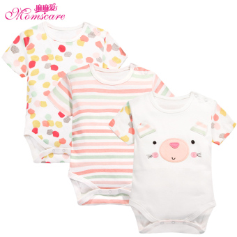 Baby momscare newborn children three piece fitted short-sleeved romper