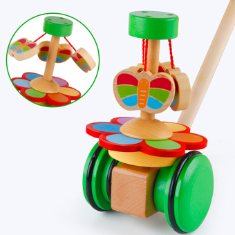 Cartoon children baby 1-3-year-old toddler animal trolley carchildren's toddler wooden pushing music toys