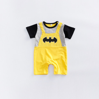 European and American baby clothes summer short-sleeved leotard baby Superman 0-1-year-old Batman romper 3-6-12 a month