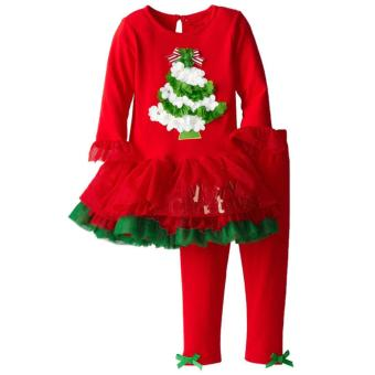 2 PCS Children christmas dress and pants lovely red santa claus Tree Cotton - intl