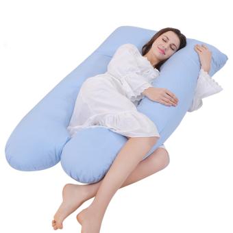 U Pillow Contoured Body Maternity Pregnancy Pillow Light Blue