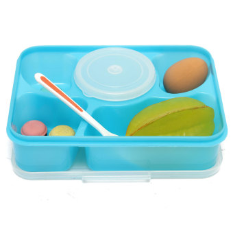 5 separated microwave bento lunch box soup spoon picnic food container storage blue export. Black Bedroom Furniture Sets. Home Design Ideas