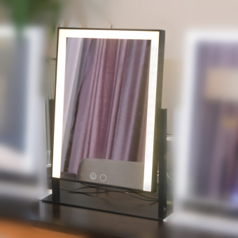 Desktop sided mirror with bulb vanity mirror square professional beauty mirror large LED Light Mirror folding
