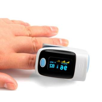 Fingertip Pulse Oximeter Saturation Alarm Monitor with Lanyard Blue