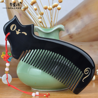 Horn Comb Large Natural Horn Wide Tooth Massage Comb PortableFine-Toothed Hair Care Anti-Static Gift Lettering