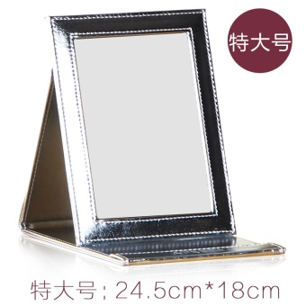 Korea minimalist makeup mirror portable folding portable Mirror PU Leather desktop leather princess mirror HD