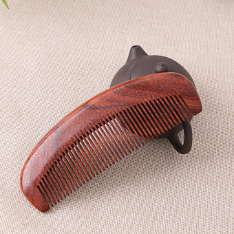Natural Red Sandalwood wood comb anti-static ebony wood comb carry portable small comb wide tooth hair massage comb