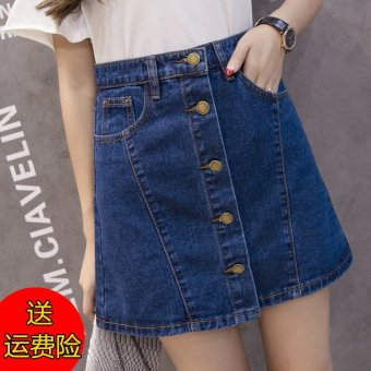 16 korean version of college wind spring and autumn high waistsingle breasted denim skirt denim skirts a word skirt package hipskirt summer (Dark blue [855])