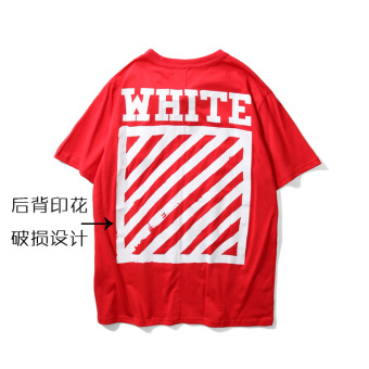 16FW offwhite Zhou Yangqing same paragraph classic basic striped printing short-sleeved ow couple T-shirt (Red)