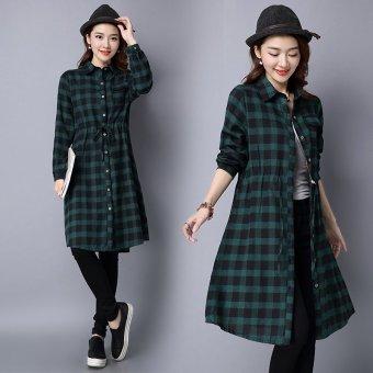 2016 autumn new women fat MM xl literary loose fashion plaid cotton linen dress
