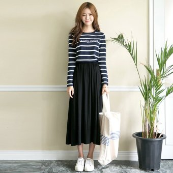 2017 new korean version of the long sleeve student stitching stripe dress long skirt waist was thin wild dress