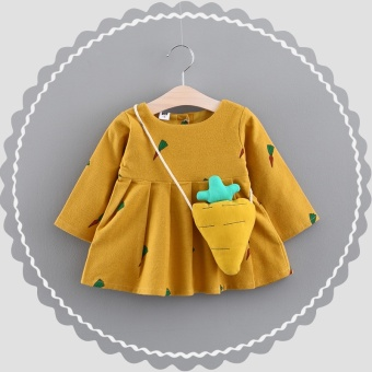 2017 New style female children's clothing 0-1-2-3-year-old half female baby autumn skirt 6 a month baby dress princess dress (Yellow)