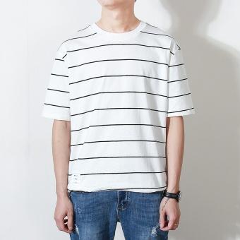 2017 summer Korean version of fashion men's loose models round neck Striped short-sleeved t-shirt Korean wild short-sleeved t-shirt thin section (Gray stripes)