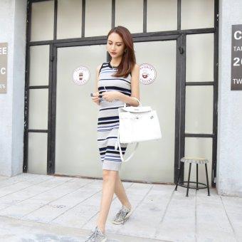 2017 summer New style waist straight ice silk striped dress female long section Slim fit sleeveless vest skirt tide