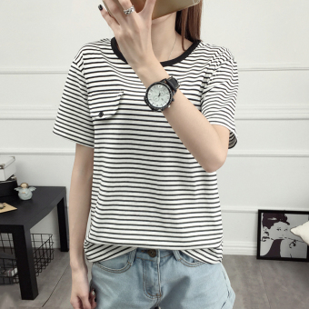 Adolescents 2017 high school students in the spring and summer new korean women round neck short sleeve t-shirt striped shirt bottoming shirt (White)