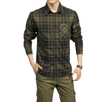 Battlefield jeep men's plaid shirt men's casual long sleeve shirts uniforms spring and autumn men's long sleeve shirt men (Army green)