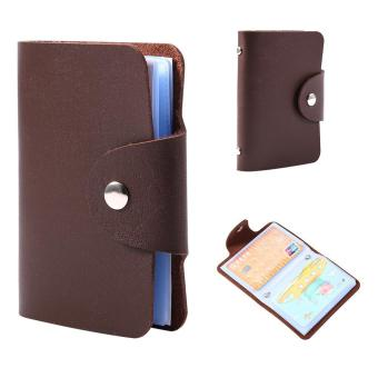 Business Card Holder Pocket PU Leather Wallet for 24 Cards (Brown)- intl
