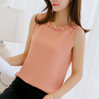 Caidaifei Korean-style spring and summer New style sleeveless shirt (Pink) (Pink)