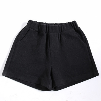 Casual female New style word wide leg pants shorts (Black)