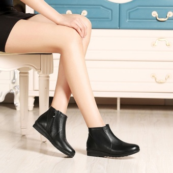 Casual thick bottomed round ankle boots leather short boots (Black Full Leather)