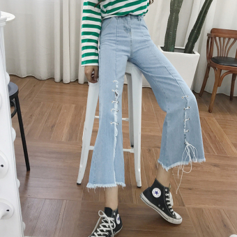Chic Korean light blue New style slimming lace jeans